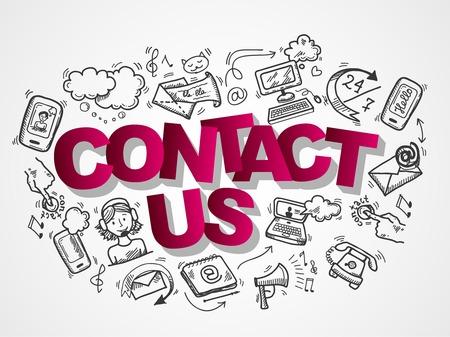 Illustration pour Contact us phone customer service user support sketch icons composition vector illustration - image libre de droit