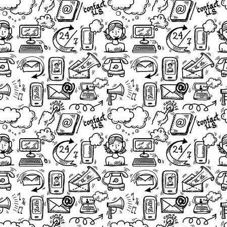 Illustration pour Contact us customer service sketch doodle icons seamless pattern vector illustration - image libre de droit
