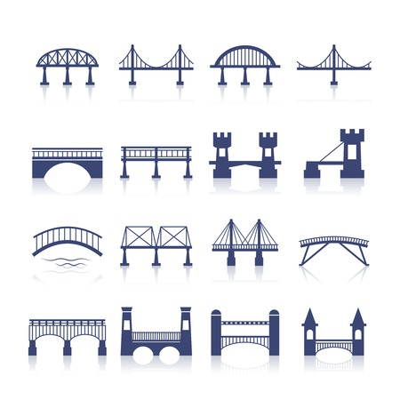 Illustrazione per Bridge architecture city landmark silhouette icon set isolated vector illustration - Immagini Royalty Free