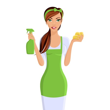 Illustration pour Young woman housewife cleaning with spray and sponge portrait isolated on white background vector illustration - image libre de droit