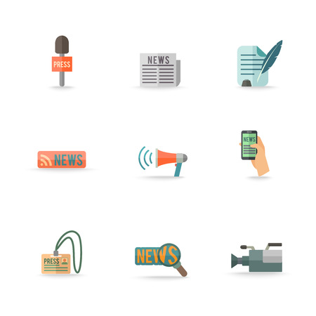 Social media mobile  press center reporter symbols emblems design pictograms collection isolated icons set flat vector illustration. Editable EPS and Render in JPG format