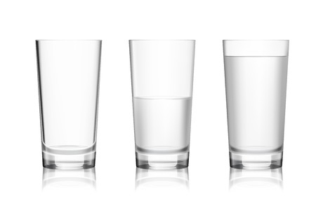 Illustration pour Realistic full half-full and empty glass with mineral water isolated on white background vector illustration - image libre de droit