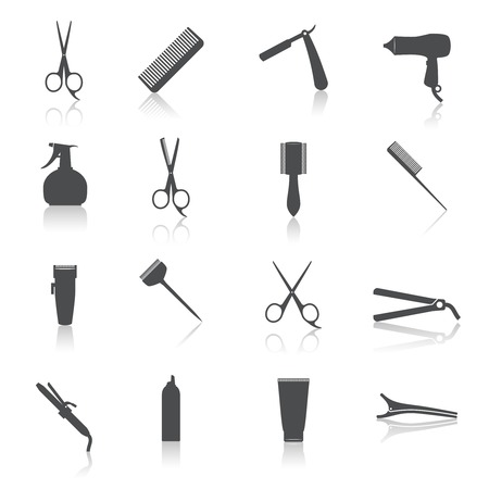 Illustration pour Hairdresser  styling accessories professional haircut icon set isolated vector illustration - image libre de droit