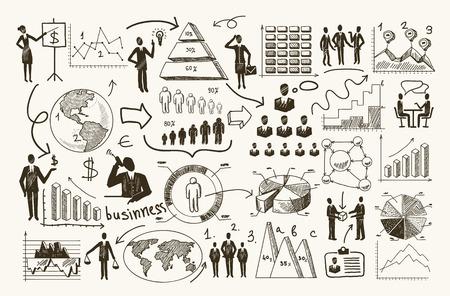 Illustration pour Sketch business organization management process people infographic with charts vector illustration - image libre de droit