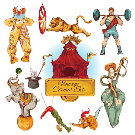 Illustration pour Decorative circus magic fairy wand and clown trick design vintage icons set doodle color sketch vector illustration - image libre de droit
