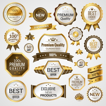 Ilustración de Luxury golden premium quality best choice labels set isolated vector illustration - Imagen libre de derechos