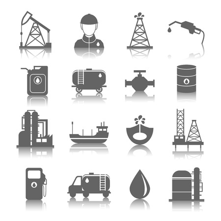 Illustration pour Oil industry gasoline processing symbols icons set with tanker truck petroleum can and pump isolated vector illustration - image libre de droit