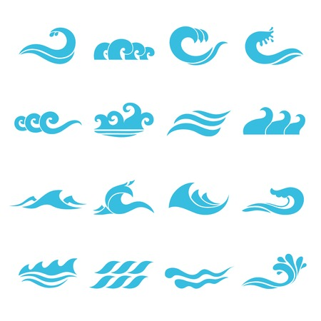 Ilustración de Waves flowing water sea ocean icons set isolated vector illustration - Imagen libre de derechos