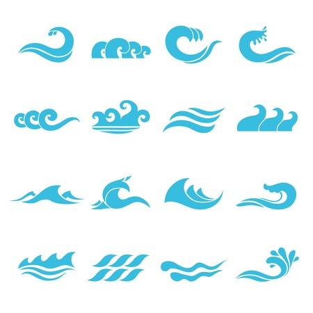 Illustration pour Waves flowing water sea ocean icons set isolated vector illustration - image libre de droit