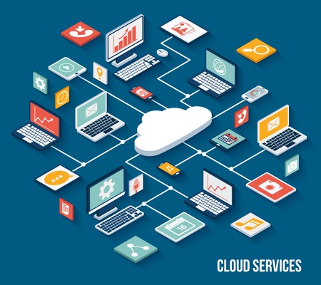 Illustration pour Mobile smartphone services cloud concept with isometric application buttons set vector illustration - image libre de droit