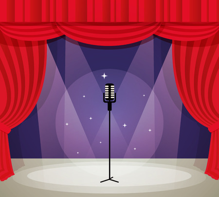 Illustration pour Stage with microphone in spotlight with red curtain background vector illustration. - image libre de droit