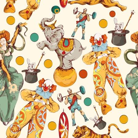 Illustration pour Decorative vintage circus with clown magical wand trick seamless wrap paper pattern color doodle sketch vector illustration - image libre de droit
