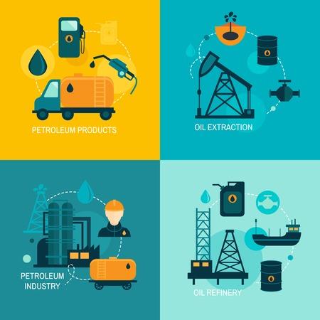 Illustration pour Oil industry business concept of gasoline diesel production fuel distribution and transportation four icons composition vector illustration - image libre de droit