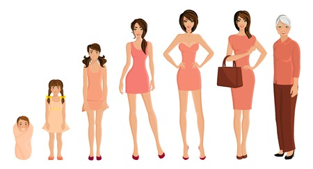 Illustration pour Different generation aging women set isolated on white background vector illustration - image libre de droit