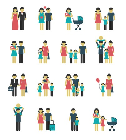 Photo for Family figures icons set of parents children married couple isolated vector illustration - Royalty Free Image