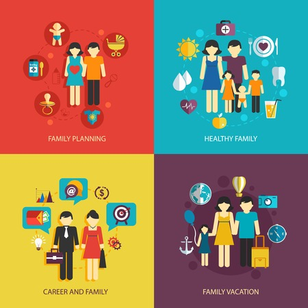 Photo for Business concept flat icons set of family planning health career and vacation infographic design elements vector illustration - Royalty Free Image