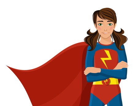 Ilustración de Girl in hero costume half-length portrait isolated on white background vector illustration. - Imagen libre de derechos
