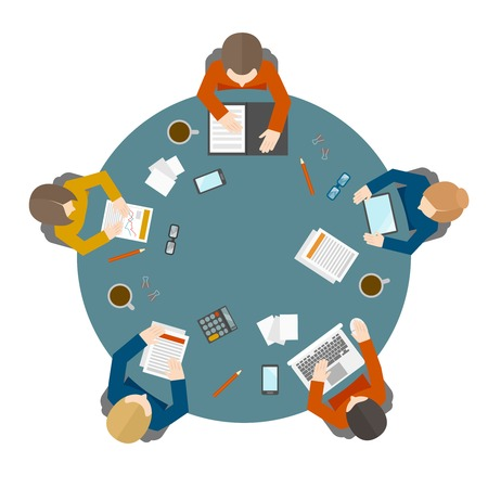 Ilustración de Flat style office workers business management meeting and brainstorming on the round table in top view vector illustration - Imagen libre de derechos
