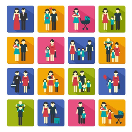 Photo for Family people figures website icons set of parents children married couple isolated vector illustration - Royalty Free Image