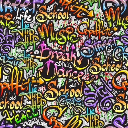 Illustration pour Graffiti spray paint expressive street crazy dance show words design seamless colorful pattern sketch grunge illustration - image libre de droit