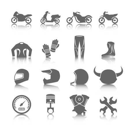 Set of motorcycles helmet gloves boots jacket pants riders icons in gray color with reflection