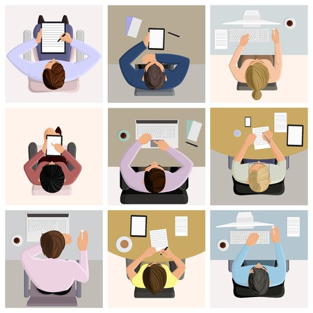 Illustration pour Set of business office worker people on job at the table with laptop computer coffee icons illustration - image libre de droit