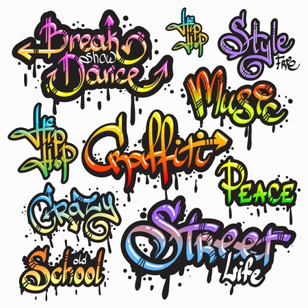 Illustration pour Expressive collection of graffiti urban youth art individual words digital spray paint creator grunge isolated illustration - image libre de droit