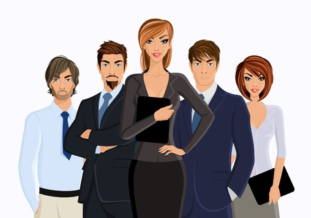 Illustration pour Group of business people business woman with team isolated on white illustration - image libre de droit