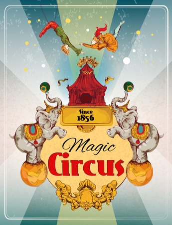 Illustration pour Magic traveling circus tent fantastic show announcement vintage poster with elephants and aerialist acrobat performance illustration - image libre de droit