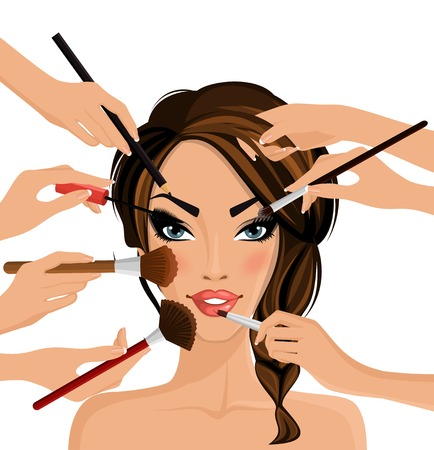 Illustration pour Many hands with cosmetics brush doing make up of glamor girl illustration - image libre de droit