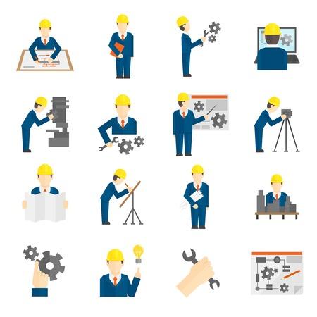 Ilustración de Set of construction industry engineer workers icons in flat style for profession science user computer interface illustration - Imagen libre de derechos