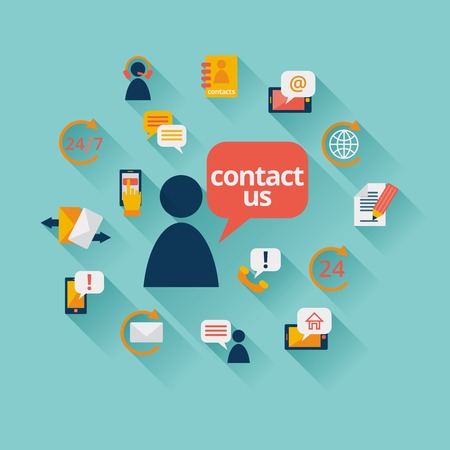 Illustration pour Contact us background with address call center customer service icons illustration - image libre de droit