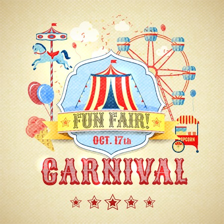 Illustration pour Vintage carnival fun fair theme park advertising poster vector illustration - image libre de droit