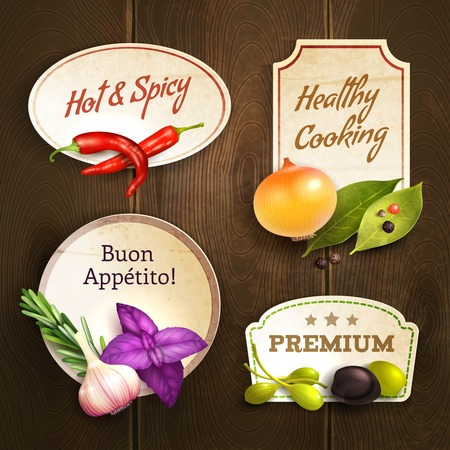 Realistic herbs and spices decorative kitchen badges set on wooden background isolated vector illustration