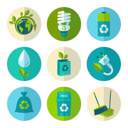 Ilustración de Ecology and waste flat icons set of trash recycling conservation isolated vector illustration. - Imagen libre de derechos