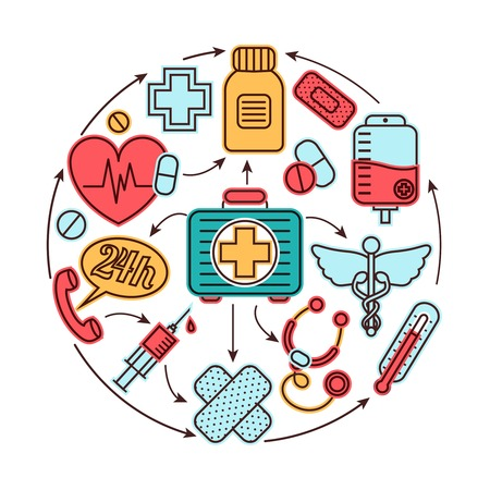Illustration pour Medical emergency first aid health care icons set medicine concept vector illustration - image libre de droit