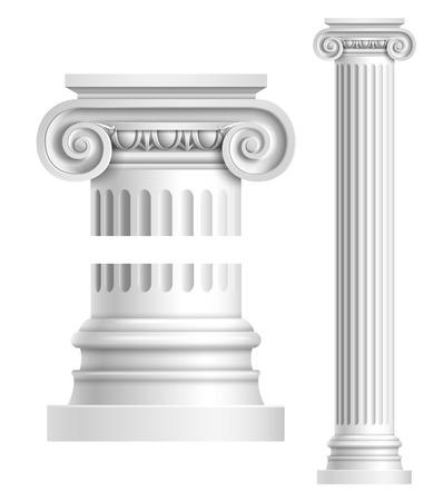 Illustration pour Realistic antique ionic column isolated on white background vector illustration - image libre de droit