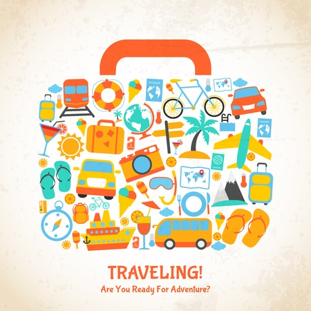 Illustration pour Travel holiday vacation suitcase ready for adventure concept illustration - image libre de droit