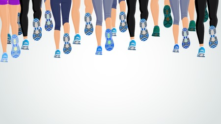 Illustration pour Group or running people legs back view background illustration - image libre de droit