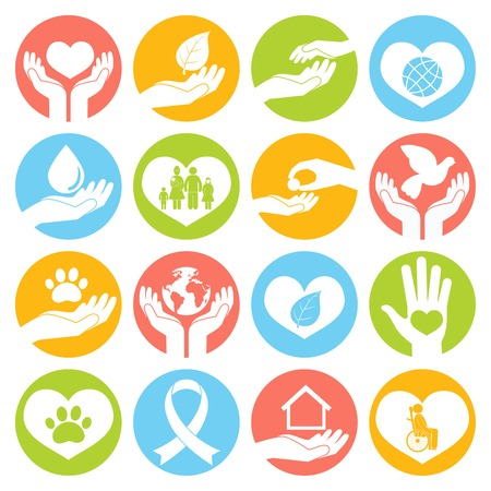 Illustration for Charity donation social services and volunteer white round buttons set isolated illustration - Royalty Free Image