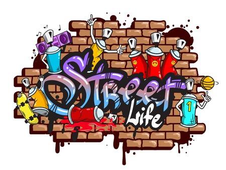 Ilustración de Decorative urban world youth street life graffiti art spraycan characters and drippy blotchy letters composition illustration - Imagen libre de derechos
