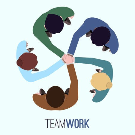 Illustration for Business team teamwork concept top view people illustration - Royalty Free Image