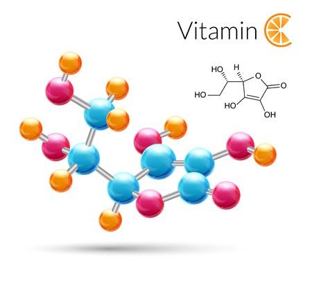 Illustration pour Vitamin C 3d molecule chemical science atomic structure poster illustration. - image libre de droit