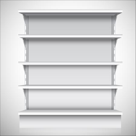 Illustration pour White empty supermarket retail store shelves isolated on white background vector illustration - image libre de droit