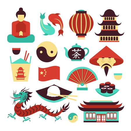 Illustration pour China travel asian traditional culture symbols set isolated vector illustration - image libre de droit
