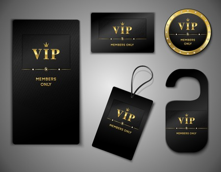 Ilustración de Vip members only premium platinum elegant cards black design template set isolated vector illustration - Imagen libre de derechos