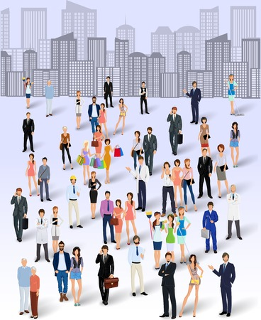 Illustrazione per Large group crowd of people on city skyline background poster vector illustration - Immagini Royalty Free