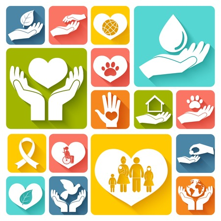 Illustration for Charity donation social services emblems flat icons set isolated vector illustration - Royalty Free Image