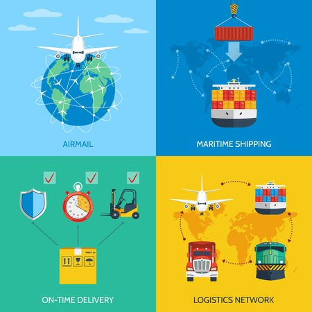 Illustration pour Logistic network airmail maritime shipping on-time delivery flat icons set isolated vector illustration - image libre de droit