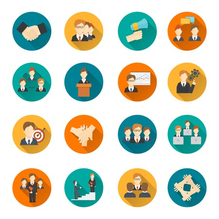 Illustration pour Teamwork corporate organization business strategy flat round button icons set isolated vector illustration - image libre de droit